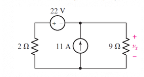 Solve for the voltagevxas labeled in the circuit o