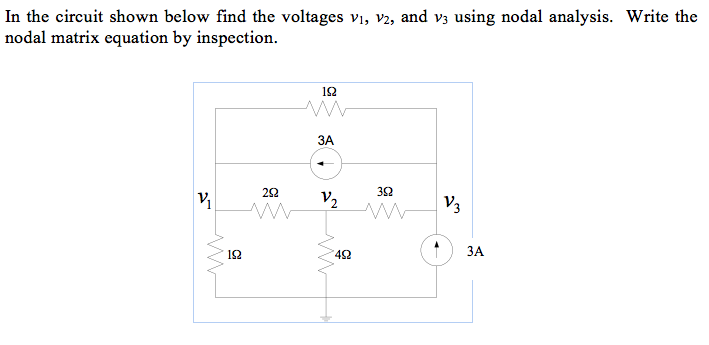 In the circuit shown below find the voltages v1, V