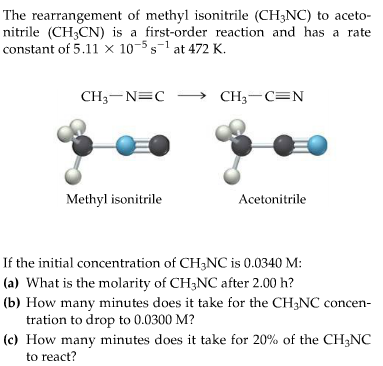 The rearrangement of methyl isonitrile (CH3NC) to