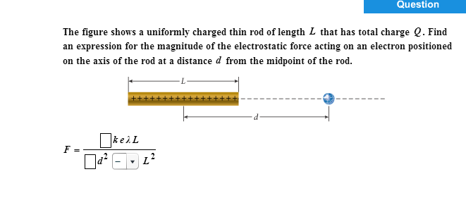 The figure shows a uniformly charged thin rod of l