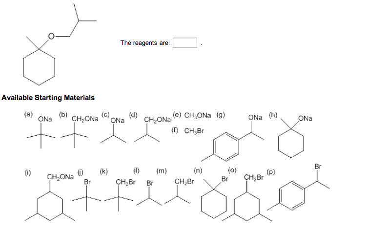 The reagents are: Available Starting Materials