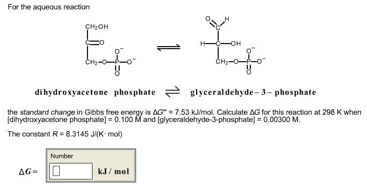 For the aqueous reaction dihydroxyacetone phospha