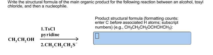 Write the structural formula of the main organic p