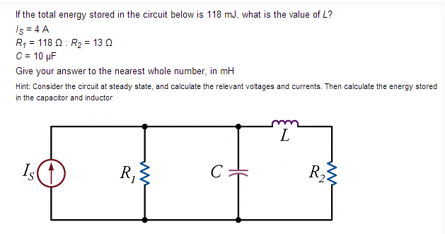 If the total energy stored in the circuit below is