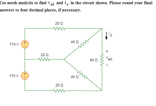 use mesh analysis to find and i0 in the circuit sh