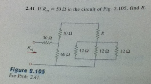If Req = 50 Ohm in the circuit of Fig. 2.105, find