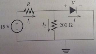 Find the current I flowing through the diode for t