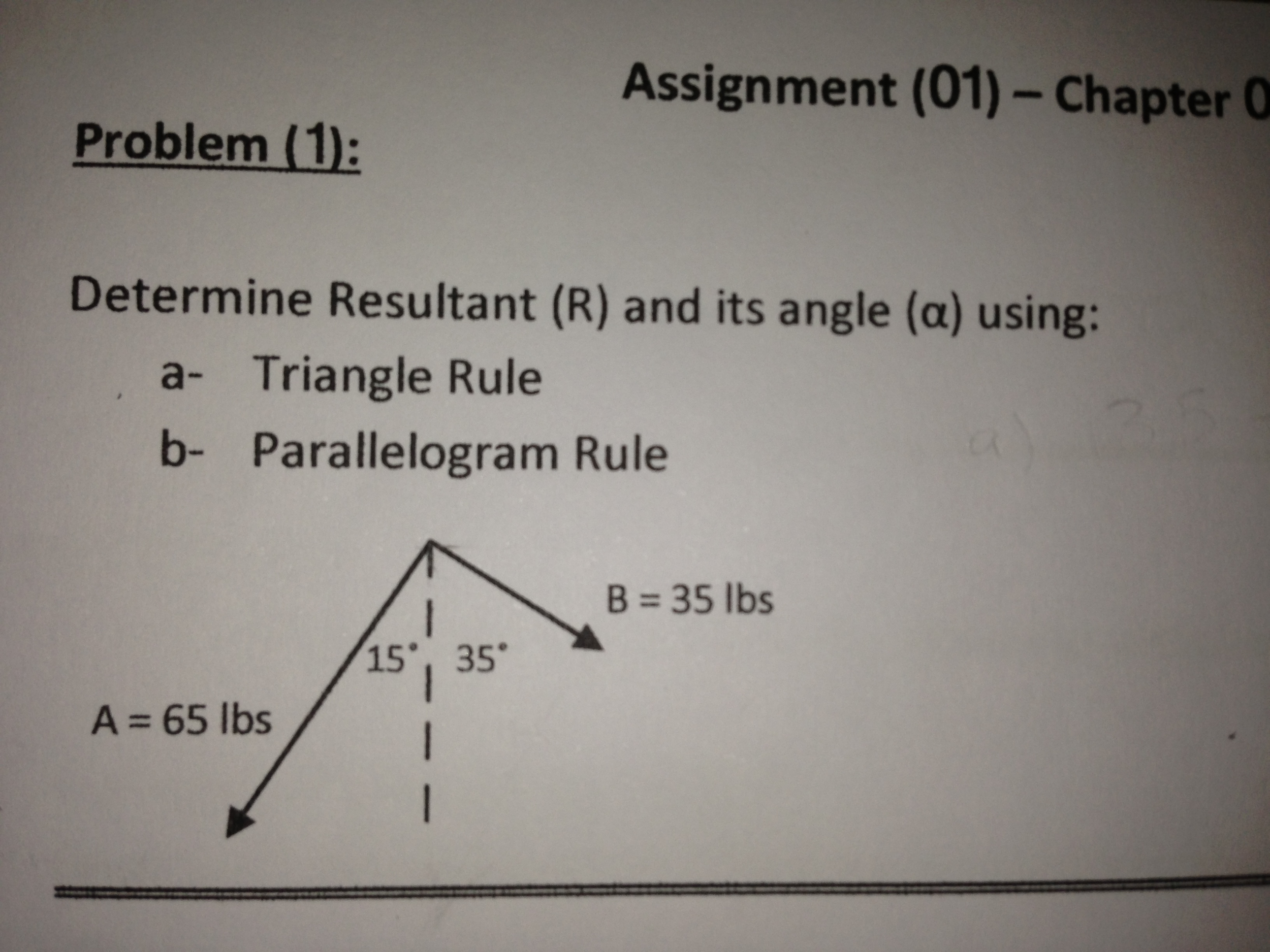 Determine Resultant (R) and its angle (alpha) usin