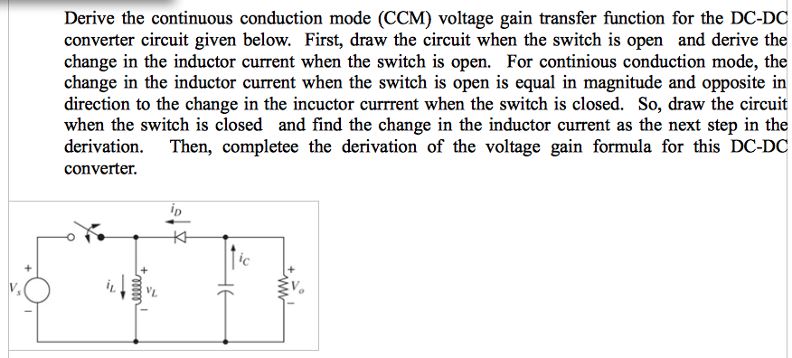Derive the continuous conduction mode (CCM) voltag