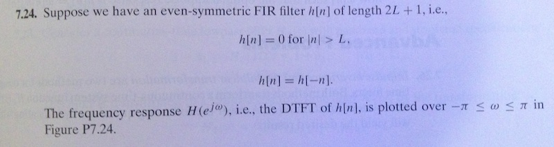 Suppose we have an even-symmetric FIR filter h|n|