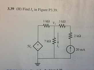 (H) Find Ix in Figure P3.39.