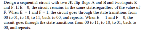 Design a sequential circuit with two JK flip-flops