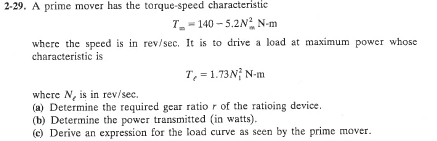 A prime mover has the torque-speed characteristic