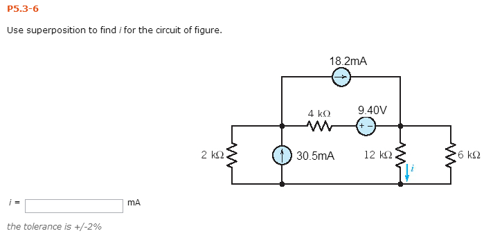 Use superposition to find I for the circuit of fig