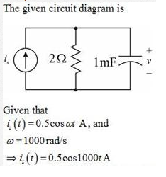 The given circuit diagram is Given that it(t) = 0