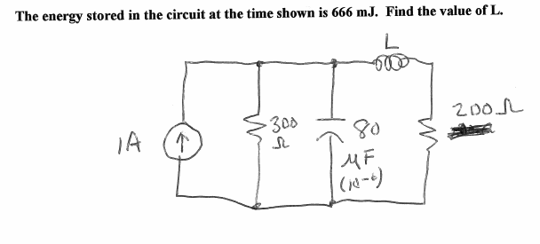 The energy stored in the circuit at the time shown