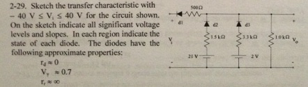 Sketch the transfer characteristic with - 40 V le