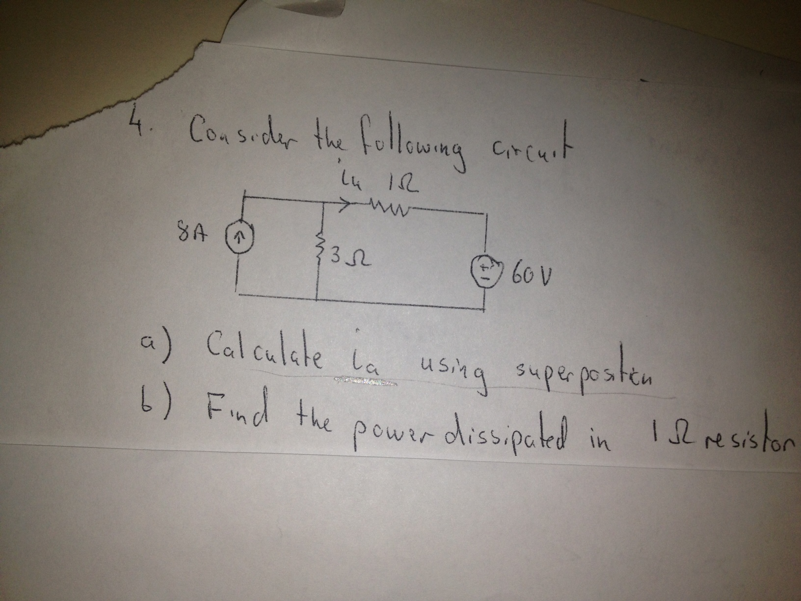 Consider the following circuit Calculate ia using