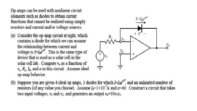 Op-amps can be used with nonlinear circuit element