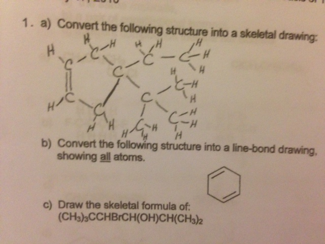 Convert the following structure into a skeletal dr