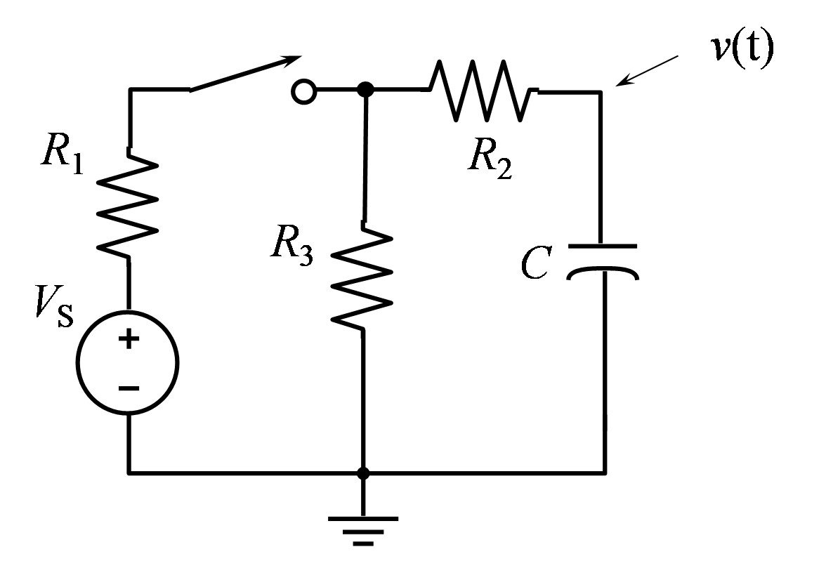Given the following circuit, shown below for t <