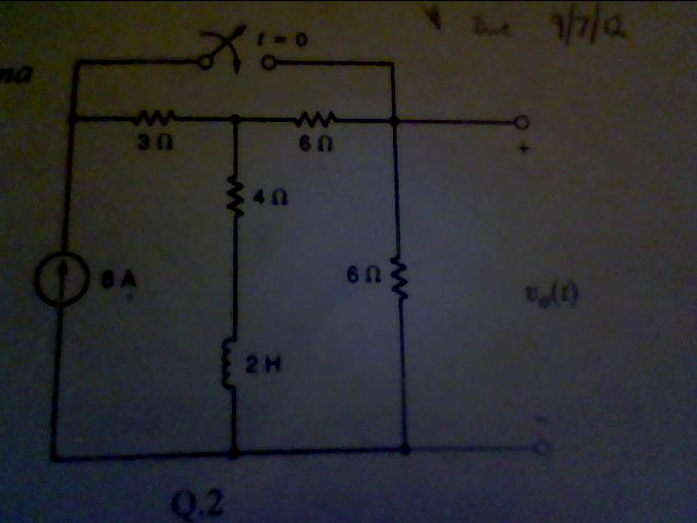 For the circuit shown find Vo(t) using LaPlace Tra