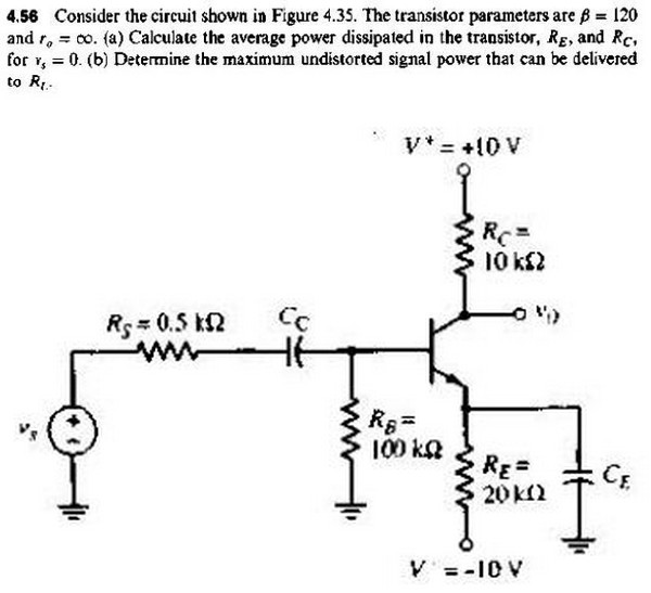 Consider the circuit shown in Figure 4.35. The tra
