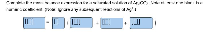 Complete the mass balance expression for a saturat
