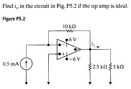 Find iv in the circuit in Fig. P5.2 if the op amp