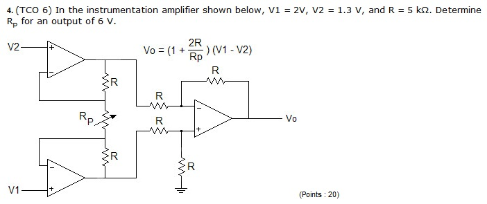 In the instrumentation amplifier shown below, V1 =