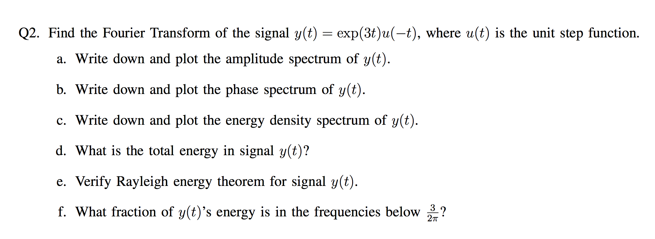 Find the Fourier Transform of the signal y(t) = ex