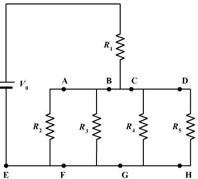 The circuit to the right consists of a battery (V0