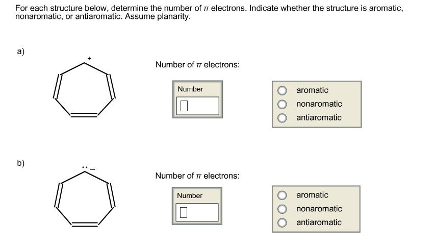 For each structure below, determine the number of
