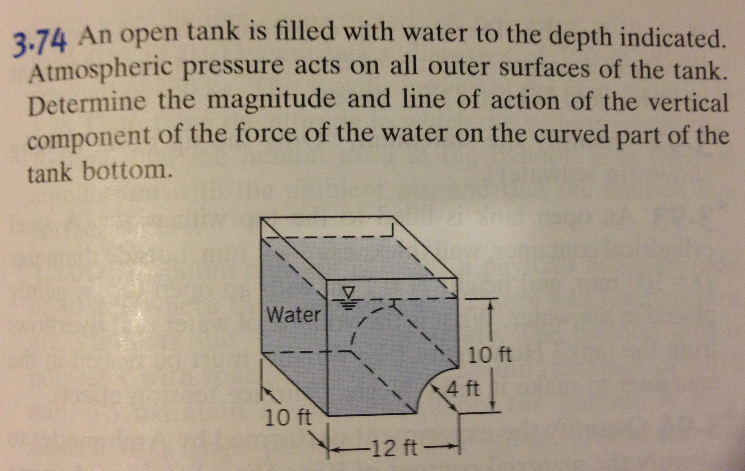 An open tank is filled with water to the depth ind