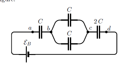 Consider the group of capacitors shown in the fig