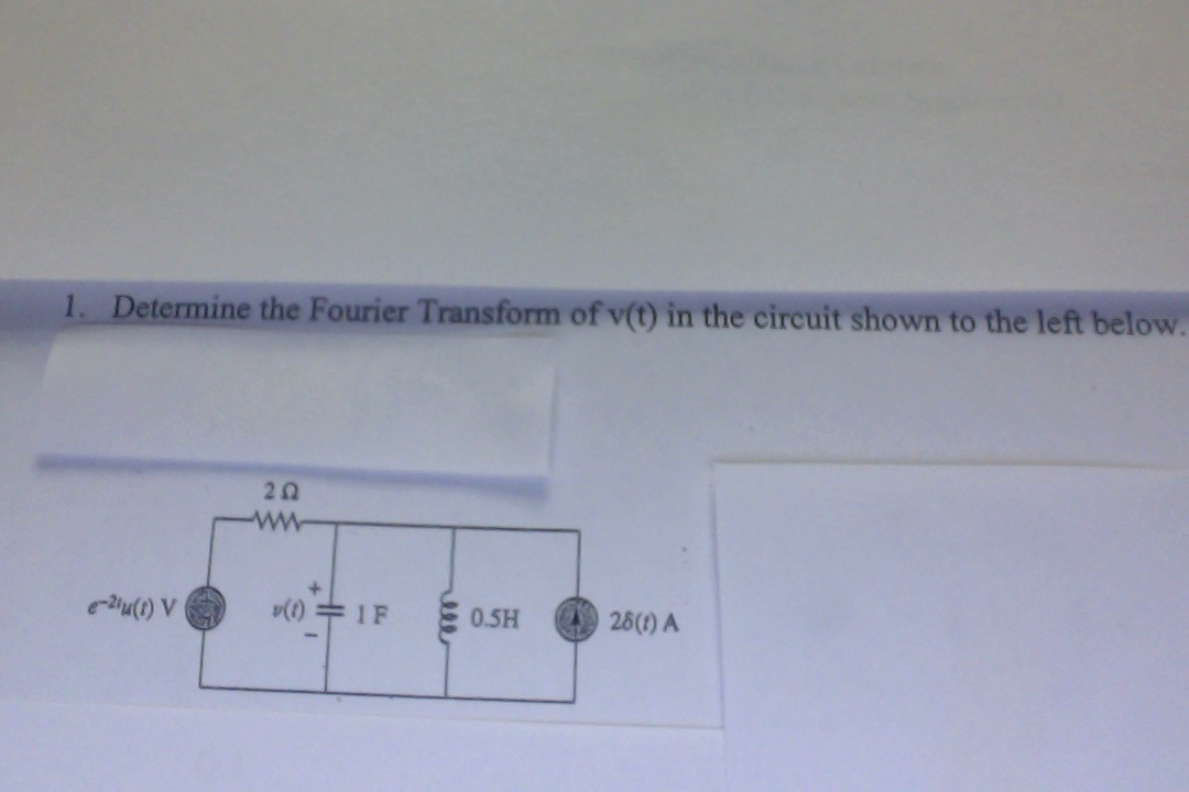 Determine the Fourier Transform of v(t) in the cir