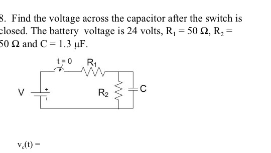 Find the voltage across the capacitor after the sw