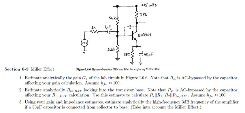 Figure L6.6: Bypassed-emitter NPN amplifier for ex