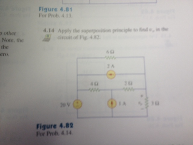 Apply the superposition to find v0 in the circuit