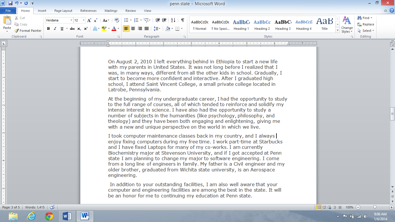 Starting a personal statement with a quote