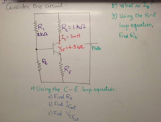 Consider the circuit: Using the C-E loop equation