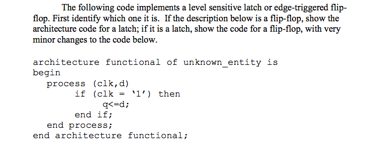 The following code implements a level sensitive la