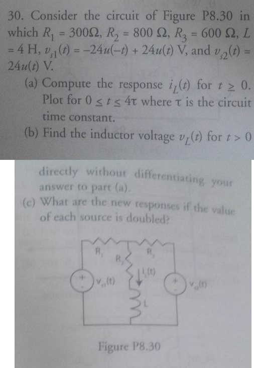 Consider the circuit of Figure P8.30 in which R1 =