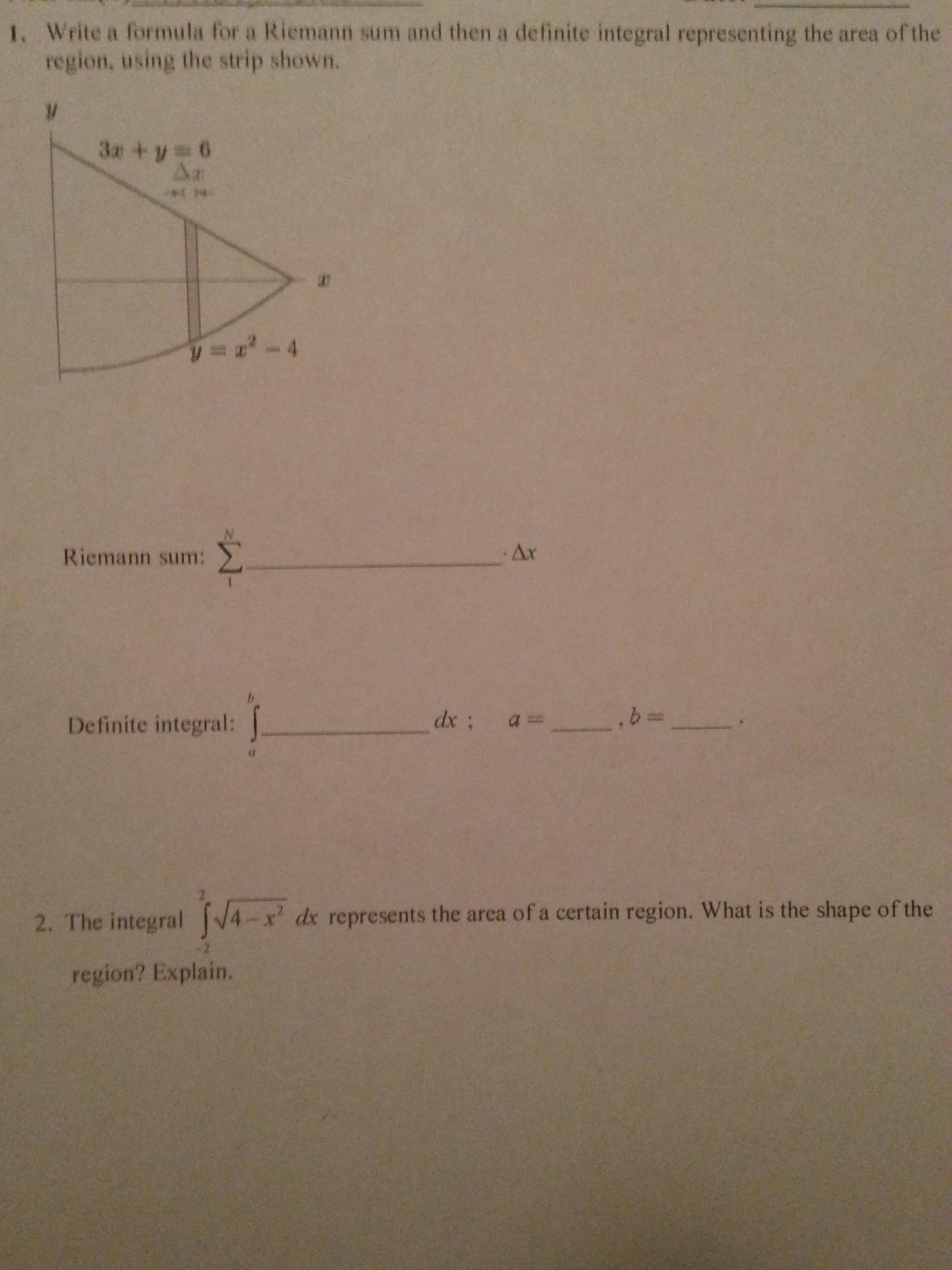 Riemann Sum Formula For Definite Integral