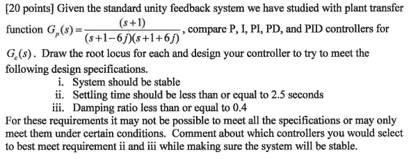 Given the standard unity feedback system we have s