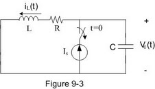 In the circuit shown in Figure 9-3, Is=5 A, L=0.5