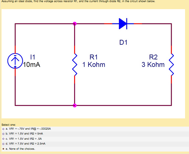 Assuming an ideal diode, find the voltage across r