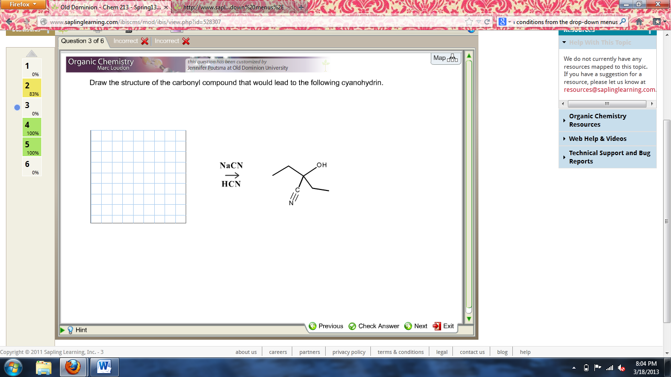 Draw the structure of the carbonyl compound that w