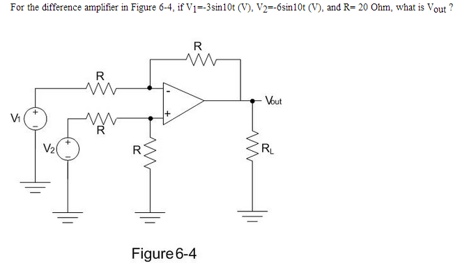For the difference amplifier in Figure 6-4, if V1=