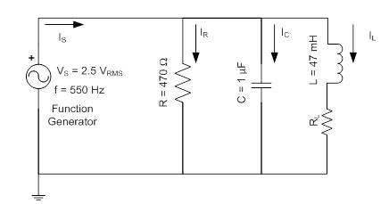 Given the R, L, & C parallel circuit in fig. c